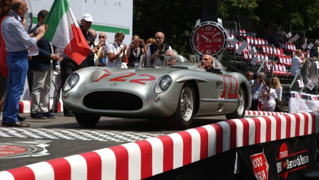 Sir Stirling Moss in his 300 SLR with start number 722 at the start of the 2015 Mille Miglia, 14 May 2015 in Brescia/Italy.
