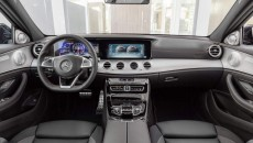 The interior reinforces the dynamic calibre of the new E 43 4MATIC with numerous individual details. The driver and front passenger find a secure position in the sports seats even when driving at speed, thanks to the improved lateral support. The upholstery in ARTICO man-made leather/DINAMICA microfibre in black (optionally: nappa leather) features a distinctive layout and red topstitching. To match the seat design, the door centre panels and the dashboard are finished in ARTICO man-made leather with red topstitching. Exclusive pedals, a black roof lining and red seat belts add further sporty highlights.