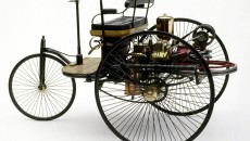 The 1886 Benz Patent-Motorwagen is widely regarded as the first automobile in history, making it an easy choice for our top 10. The Benz Patent-Motorwagen was a three-wheeled automobile with a rear-mounted 954 cc single-cylinder four-stroke engine capable of producing capable of .9 hp (0.67 kW) at 400 rpm. The body was constructed of steel tubing with woodwork panels and steel-spoked wheels with solid rubber tires that were Benz's own design. Steering was accomplished with a toothed rack that pivoted the unsprung front wheel. A simple belt system was used as a single-speed transmission, varying torque between an open disc and drive disc.