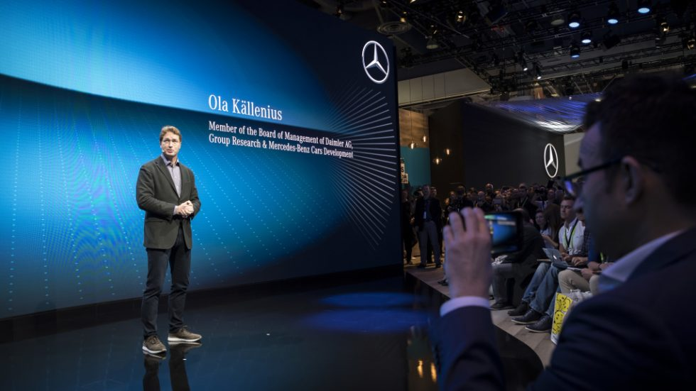 "Ola Källenius, Member of the Board of Management of Daimler AG responsible for group research and Mercedes-Benz Cars Development. Mercedes- Benz is presenting its new infotainment system ""MBUX"" (Mercedes-Benz User Experience) at the CES 2018.MBUX is heralding a new era of infotainment with innovative technology based on artificial intelligence and an intuitive operating concept. MBUX is being used in the entire new generation of compact cars from Mercedes-Benz and will go into series production in the new A-Class in 2018."