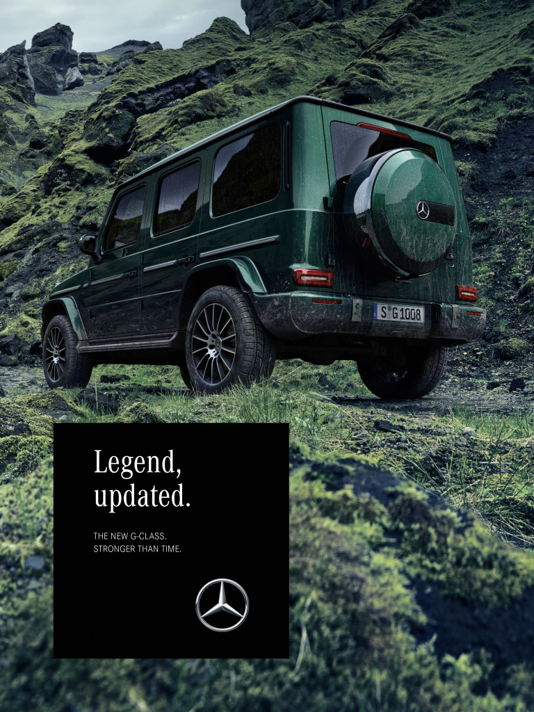 "In classic print media, the G-Class will appear with impressive picturesfrom 15 January 2018 . Here is an ad motif from the ""Green Lava"" world."