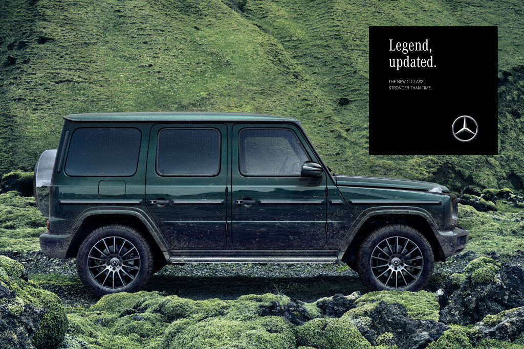 "The themes off-road capability, design and on-road performance pick up natural elements, such as rock and lava formations, and water, which, like the G-Class, are ""stronger than time"". Here is an ad motif from the ""Green Lava"" world."