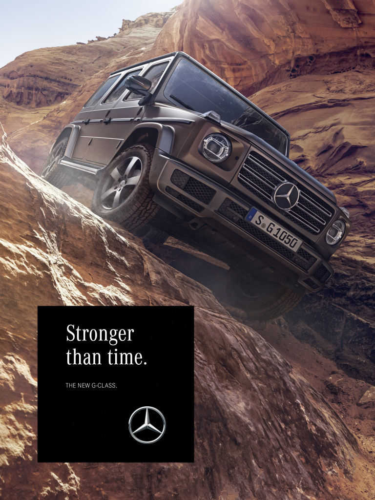 "With the campaign, Mercedes-Benz is taking customers and fans to the fascinating worlds of the iconic all-terrain vehicle and showing why the G-Class has thrilled people for almost 40 years. Here is an ad motif from the ""Amber Rock"" lifeworld."