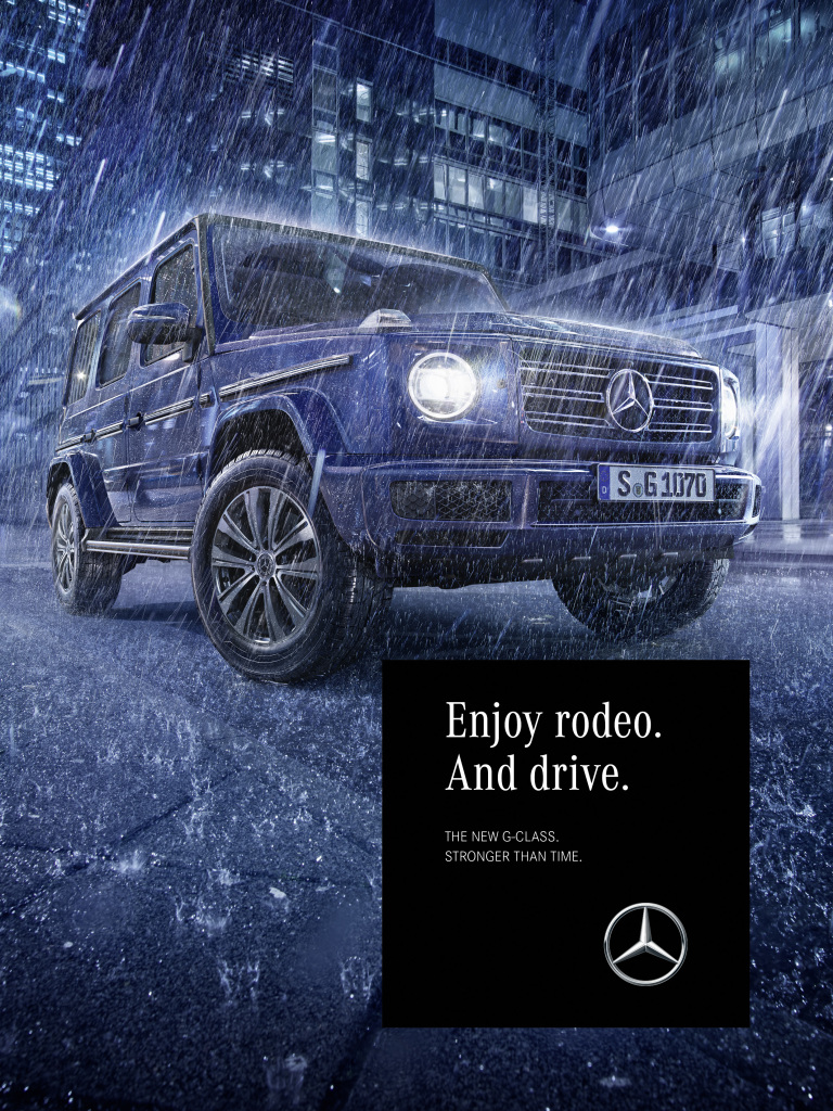 "Mercedes-Benz makes living environments come alive with powerful images that radiate self-confidence and sovereignty. Thus, intense, metallic blue tones embody a modern and cool-puristic urbanity in the motifs of the ""Blue Night"" world of life. The impressions are enhanced by reflective lights of the evening city in a rainy night."
