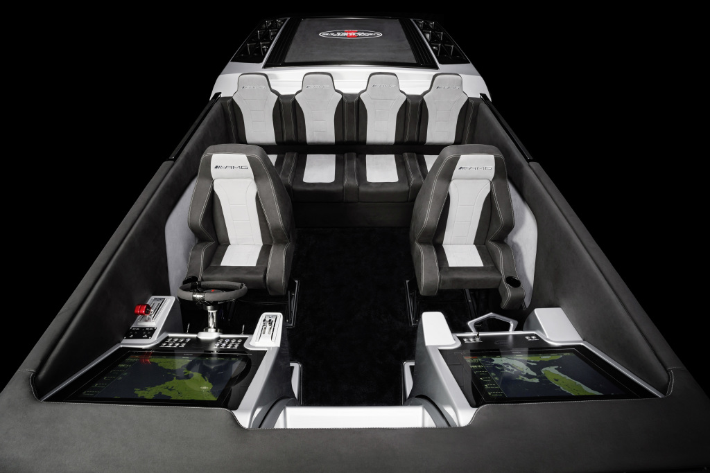 "Representing the ninth special edition boat created from this partnership, the Cigarette Racing 515 Project ONE is 51' 5"" in length and features an increased beam of 9' 6"" which allows 6 passengers the ability to be seated comfortably."