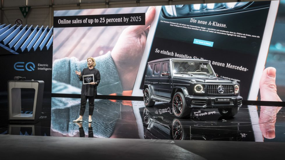 Britta Seeger, Member of the Board of Management for Mercedes-Benz Cars Marketing& Sales presenting the new Mercedes-AMG G 63, the new generation of the off-road legend by Mercedes-AMG.;fuel consumption combined: 13.1 l/100 km; CO2 emissions combined: 299 g/km*