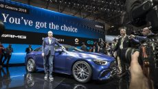 World premiere of the Mercedes-AMG GT 4-Door Coupé presented by Dr. Dieter Zetsche, Chairman of the Board of Management of Daimler AG and Head of Mercedes-Benz Cars: More space, more power, more goose pimples – the new Mercedes-AMG GT 4-Door model delivers driving experiences in new dimensions and extends the AMG model family. The new coupé is the first four-door sports car from Affalterbach and draws directly on the legendary SLS and AMG GT models of success. As another vehicle developed autonomously by Mercedes-AMG it combines unique design, high comfort and outstanding sports car engineering with an athletic, four-door fastback