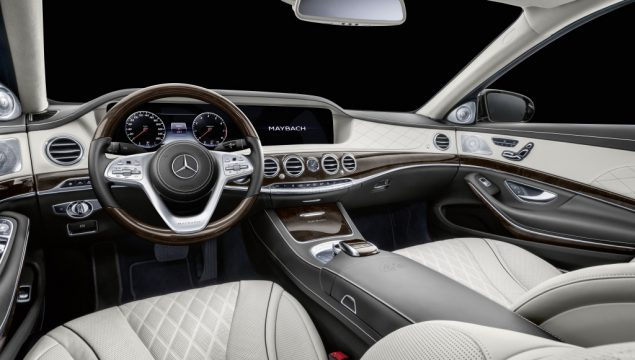 Mercedes-Maybach S 650 Pullman; exterior: obsidian black, 20-inch 10-hole forged wheels; interior: leather designo Exclusive silk beige/satin red, High-gloss brown burr walnut wood trim;Fuel consumption combined: 14.6 l/100 km, combined CO2 emissions: 330 g/km*