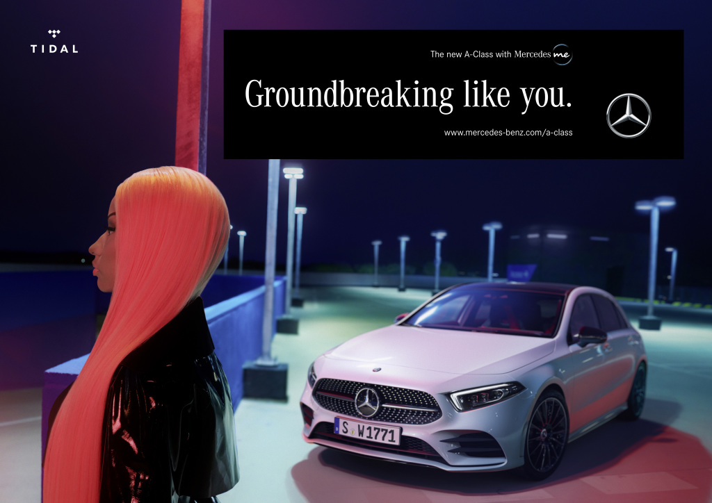 Marking the launch of the new A-class and continuing the partnership with TIDAL, Mercedes-Benz is excited to launch the new ad campaign featuring TIDAL artist-owner and global superstar Nicki Minaj.