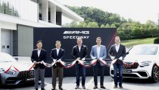 AMG Speedway Opening Ceremony May 8, 2018: (From left to right: Byung Suk JEONG, Executive Director of SAMSUNG C&T Corporation, Resort Group / Keumyong CHUNG, President & CEO of SAMSUNG C&T Corporation, Resort Group / Tobias Moers, Chairman of the Board of Management of Mercedes-AMG GmbH / Dimitris Psillakis, President & CEO of Mercedes-Benz Korea / Martin Schulz, Sales & Marketing Vice President of Mercedes-Benz Korea)