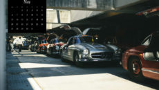 """Mercedes-Benz Classic calendar 2019, subject of May: Mercedes-Benz 300 SL """"Gullwing"""" at the 1000 Miglia in Italy."""