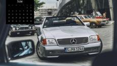 Mercedes-Benz Classic calendar 2019, subject of June: Mercedes-Benz SL (model series R 129) at Cars & Coffee around the Mercedes-Benz Museum, Stuttgart.
