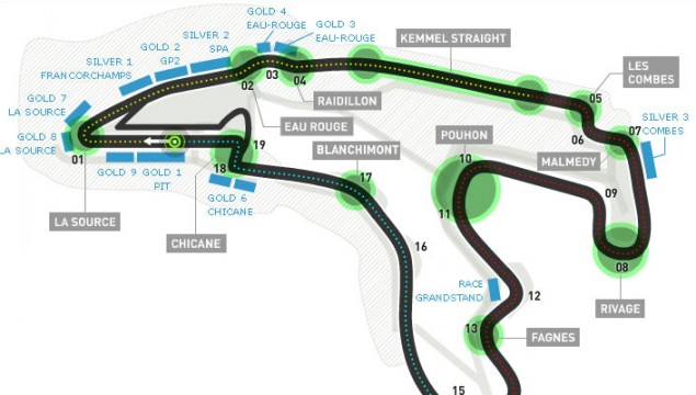 2012 Belgian Grand Prix Spa-Francorcahmps Map