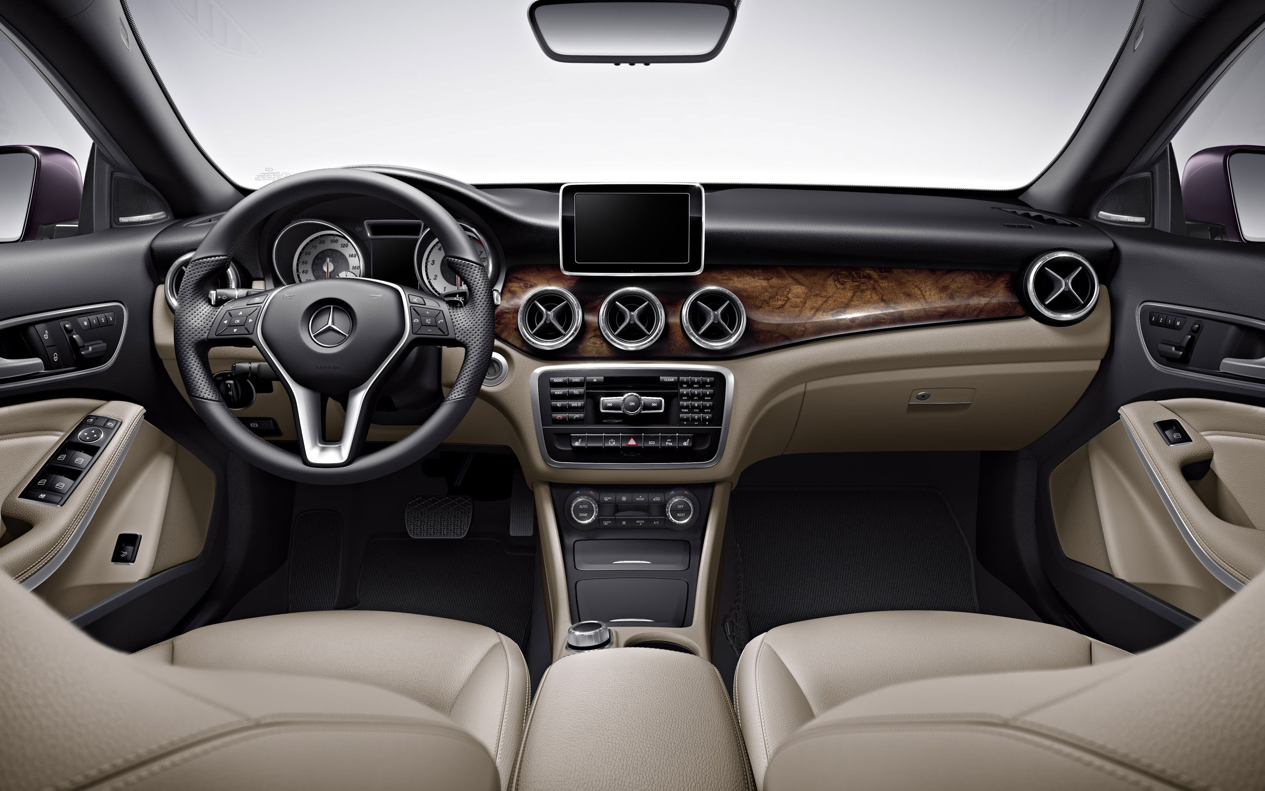 2014 Mercedes CLA250 interior in Beige with hand-polished Burl Walnut wood trim