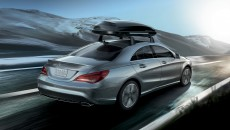 2014 Mercedes CLA250 in Polar Silver with rooftop cargo container