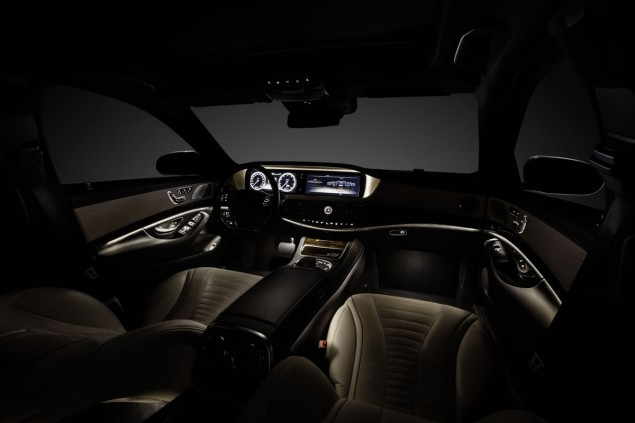Mercedes-Benz S-Class interior. The perfectly matched material and colour concept reflects the seamless nature of what is an exclusive interior. Two high-resolution colour displays in an 8:3 format and with a screen diagonal of 30.7 cm (12.3 inches) form the information centre.