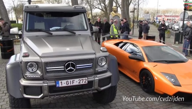 Mercedes G63 AMG 6×6 Towers over Lamborghini Murcielago SV