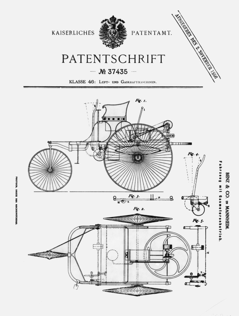 "On 29 January 1886, Carl Benz applied for a patent on his ""gas-powered vehicle"" (drawings of the design from the patent document)."