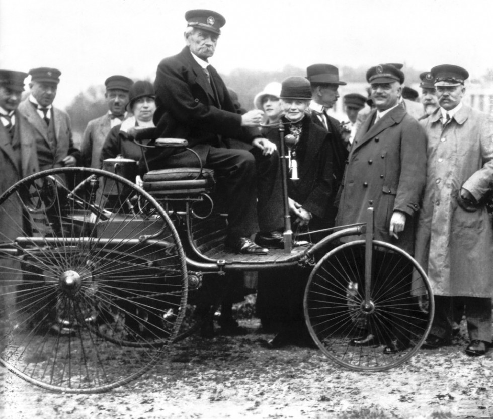 Carl Benz in his first Model I patent motor car from 1886, taken in Munich in 1925.