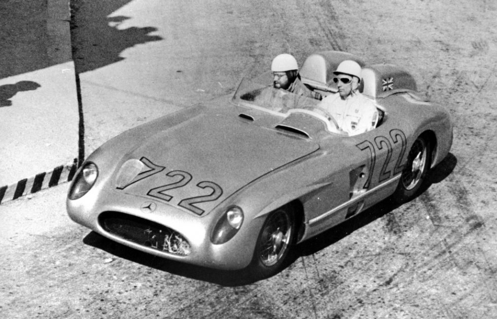 Mille Miglia 1955: Stirling Moss and Denis Jenkinson on the way to overall victory in a Mercedes-Benz 300 SLR racing sports car (W 196 S), with the best time ever achieved in the Mille Miglia, 1 May 1955.
