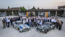 "Mille Miglia 2017: The Mercedes-Benz Classic team with a Mercedes-Benz 300 SL racing sports car (W 194, left) and a 300 SL ""Gullwing"" Coupé (W 198), 17 May 2017."