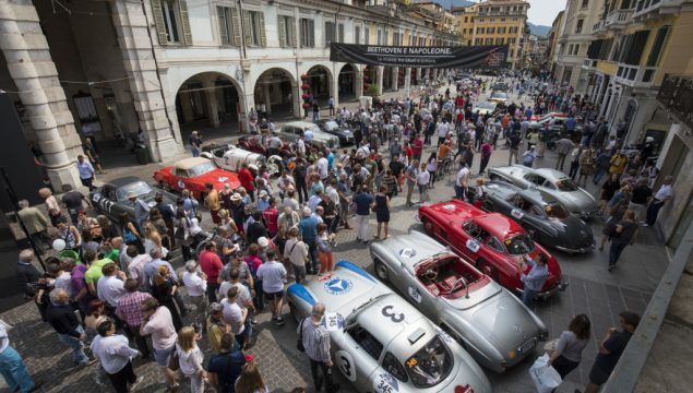 "Mille Miglia 2017: Mercedes-Benz Classic cars. Left to right: 300 SL racing sports car (W 194), 190 SL (W 121), 300 SL ""Gullwing"" Coupés (W 198). Stage from Brescia to Padua, 18 May 2017."