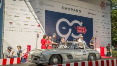 "Mille Miglia 2017: Mercedes-Benz ""Gullwing"" Coupé (W 198) on the starting ramp, stage from Parma to Brescia, 21 May 2017."