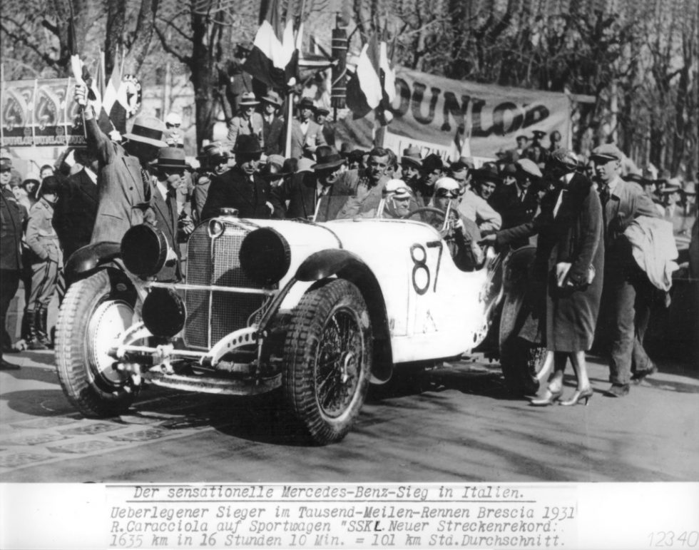 Mille Miglia 1931: The eventual winner Rudolf Caracciola at the start in a Mercedes-Benz SSK, 12 April 1931.