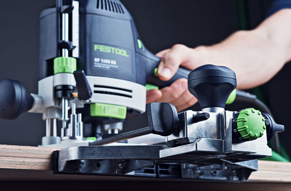 Festool OF 1400 Router with guide rail closeup