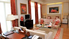 Hotel Hermitage Monte Carlo Suite with Red and Gold Accents