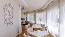 Hotel Hermitage Monte Carlo Le Vistamar Restaurant Seating Along Window