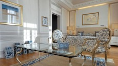 Hotel Hermitage Monte Carlo Suite with Blue and Gold Accents