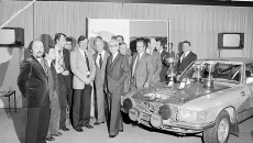Rally Vuelta a la América del Sud, 17 August to 24 September 1978. The victorious Mercedes-Benz teams are being welcomed by the Daimler-Benz Board of Management at the plant.