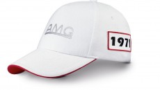 "AMG retro edition cap in white, made from 100% cotton with cotton lining, sandwich peak and visor underside in red, first AMG logo as silver 3-D print at front, badges with the year ""1971"" and the number ""35"" on the right and left, ""Founded 1967"" printed in black inside, adjustable with metal buckle with embossed AMG logo"