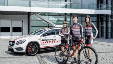 AMG, the performance brand within Mercedes-Benz, and Rotwild, the internationally renowned manufacturer of high-end mountainbikes, are intensifying their cooperation. The mountainbike professionals of the Rotwild team are entering the 2014 mountainbike season with AMG as a new name-giving sponsor. The team consists of the two U23 riders Lukas Baum and Sofia Wiedenroth (left), and the elite lady rider Nadine Rieder (rigth).