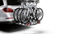 lockable rear-mounted cycle rack for secure transport of either 2 or 3 bicycles