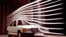 Mercedes-Benz compact-class sedan from the W 201 series in the wind channel (1982-1988).