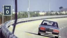 World record drive on the high-speed track in Nardò/Italy, 11 to 21 August 1983. The car covered 50,000 kilometres and set three world records and nine class records. The photo shows the successful car with red colour mark.