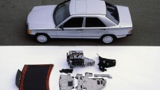 Mercedes-Benz 190 D (1983) with its engine and the most important cladding and insulating components.