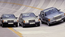 The compact class W 201 (debut: 1982, pictured far right), the intermediate W 124 series (1984) and the S-Class W 126 (1979) originated under the dominating influence of Werner Breitschwerdt.