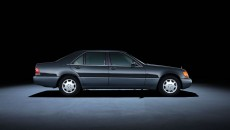 Mercedes-Benz S-Class 140 series (1991 to 1998). The S 600 model with a long wheelbase in the photo dates from 1994