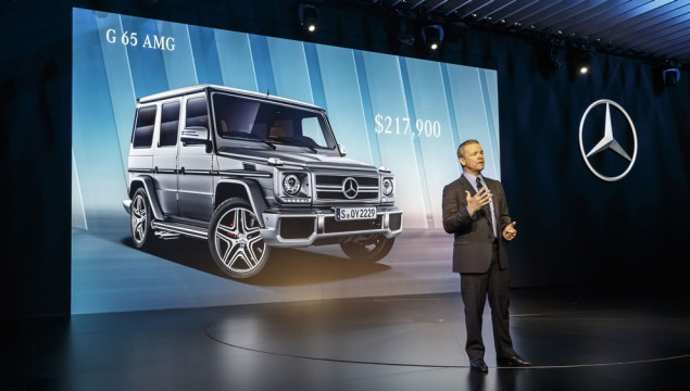 Stephen Cannon, President and CEO of Mercedes-Benz USA, presenting the Mercedes-AMG G 65
