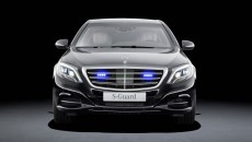 Mercedes-Benz S-Class, S 600 Guard. Blue LED light discretely integrated into the radiator grille as a special solution for official vehicles.