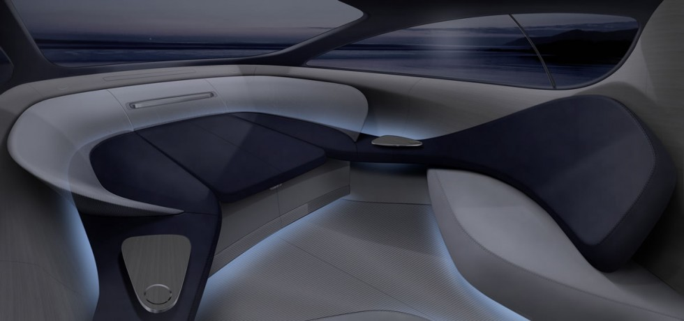 Mercedes-Benz Style Silver Arrows Yacht Interior at night
