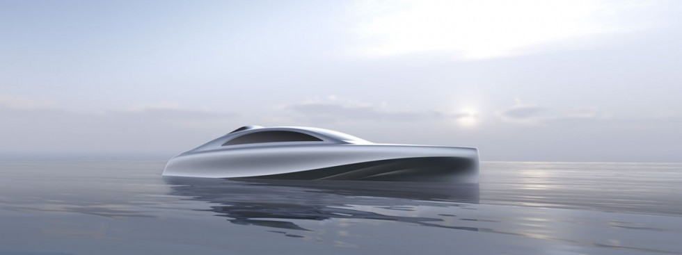 "Mercedes-Benz Style and Silver Arrow Marines present a model of the first ""Silver Arrow"" motor yacht"