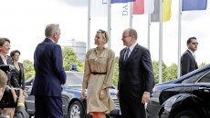 rince Albert II of Monaco and H.S.H. Princess Charlène visit Mercedes-Benz Museum