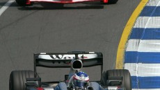 The ideal line: Kimi Räikkönen in the McLaren Mercedes MP4-17D leads Michael Schumacher in the Ferrari. But the race - the Australian Grand Prix – is won by his team-mate David Coulthard.