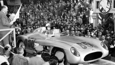 Juan Manuel Fangio (start number 658) in a Mercedes-Benz Model 300 SLR racing sports car just before the start of the 1955 Mille Miglia.