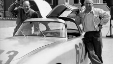 Mille Miglia, 3 to 4 May 1952. Driving team Karl Kling and Hans Klenk (No. 623) with a Mercedes-Benz 300 SL racing sports car (W 194, 1952)