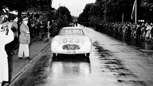 Mille Miglia, 1952. Second place: Karl Kling/Hans Klenk (No. 623) with Mercedes-Benz 300 SL racing sports car (W 194, 1952)